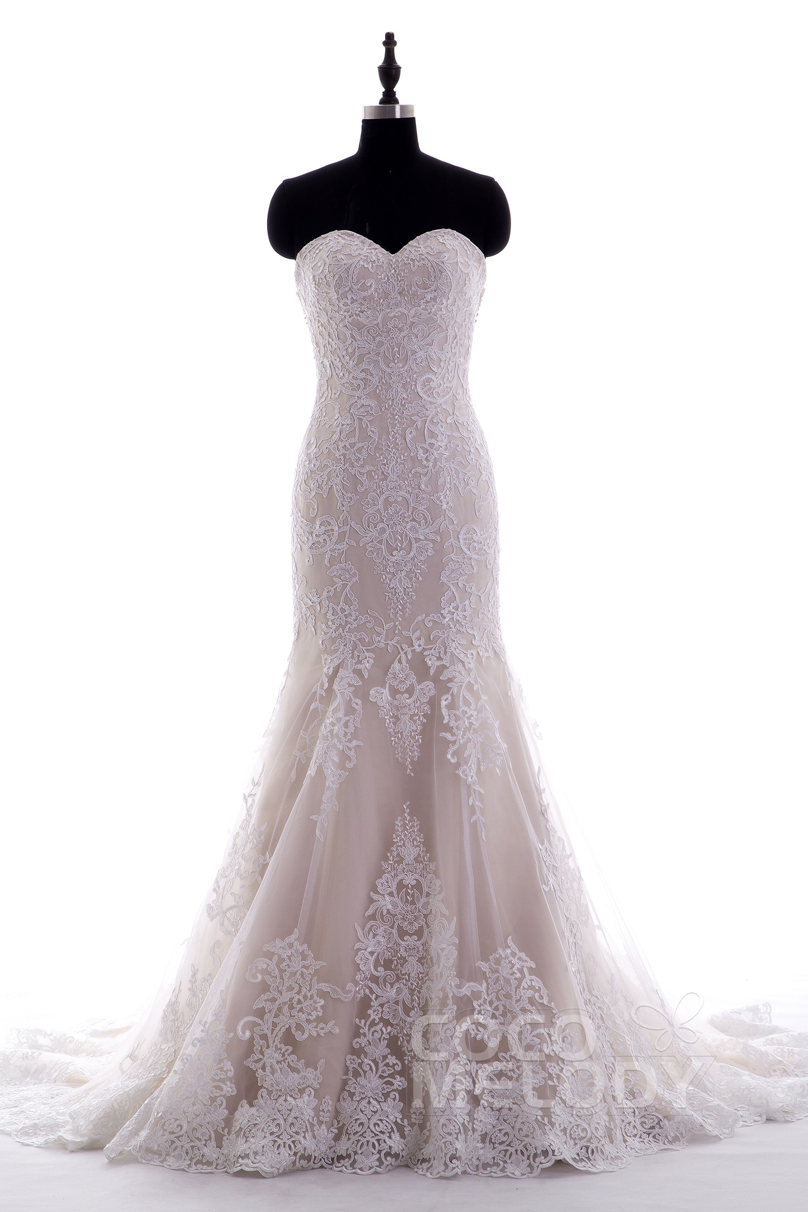 19e6089b999b Trumpet-Mermaid Court Train Lace Wedding Dress LD3906 | Cocomelody