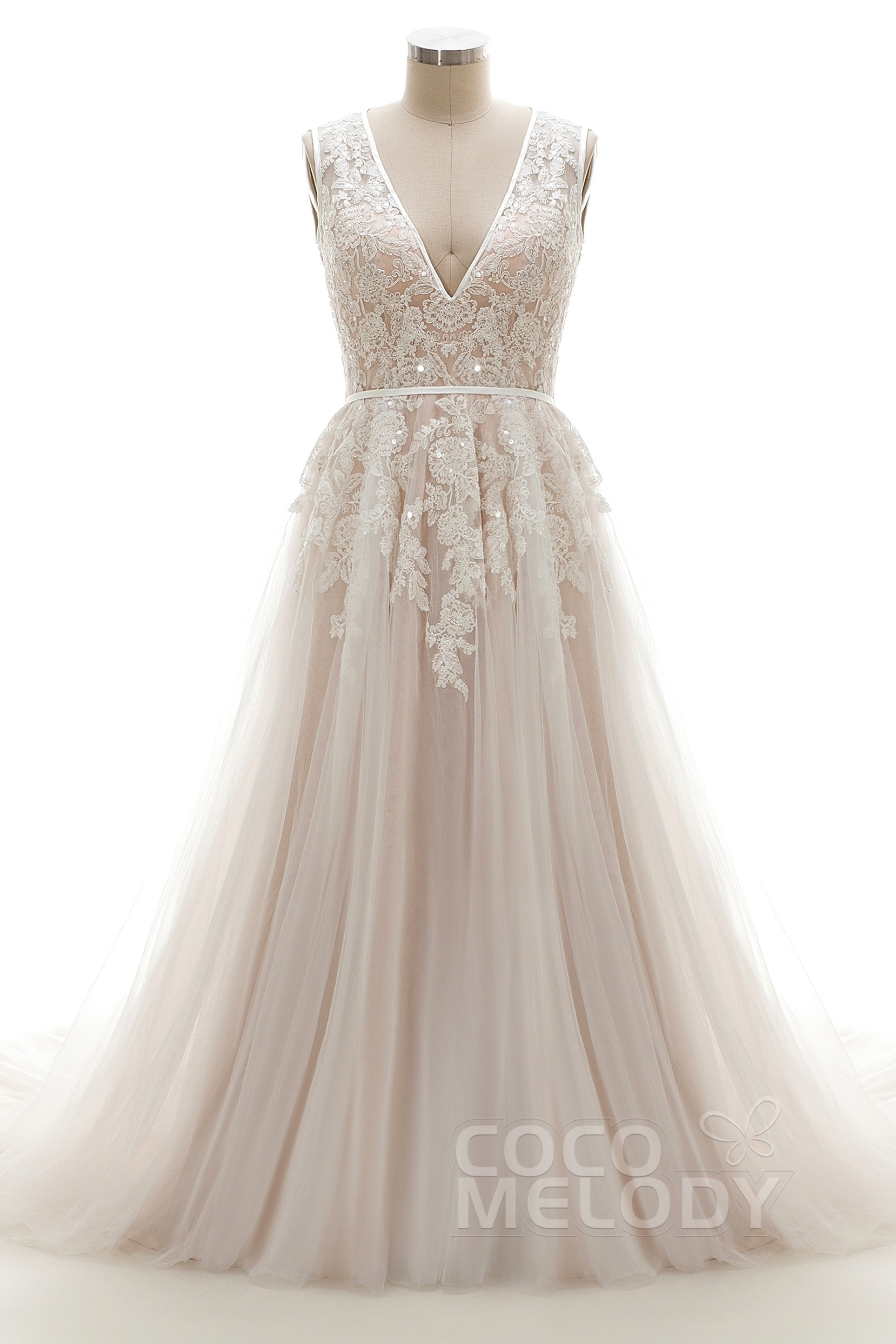 A Line V Neck Tulle Lace Court Train Wedding Dress Ld3932 Cocomelody