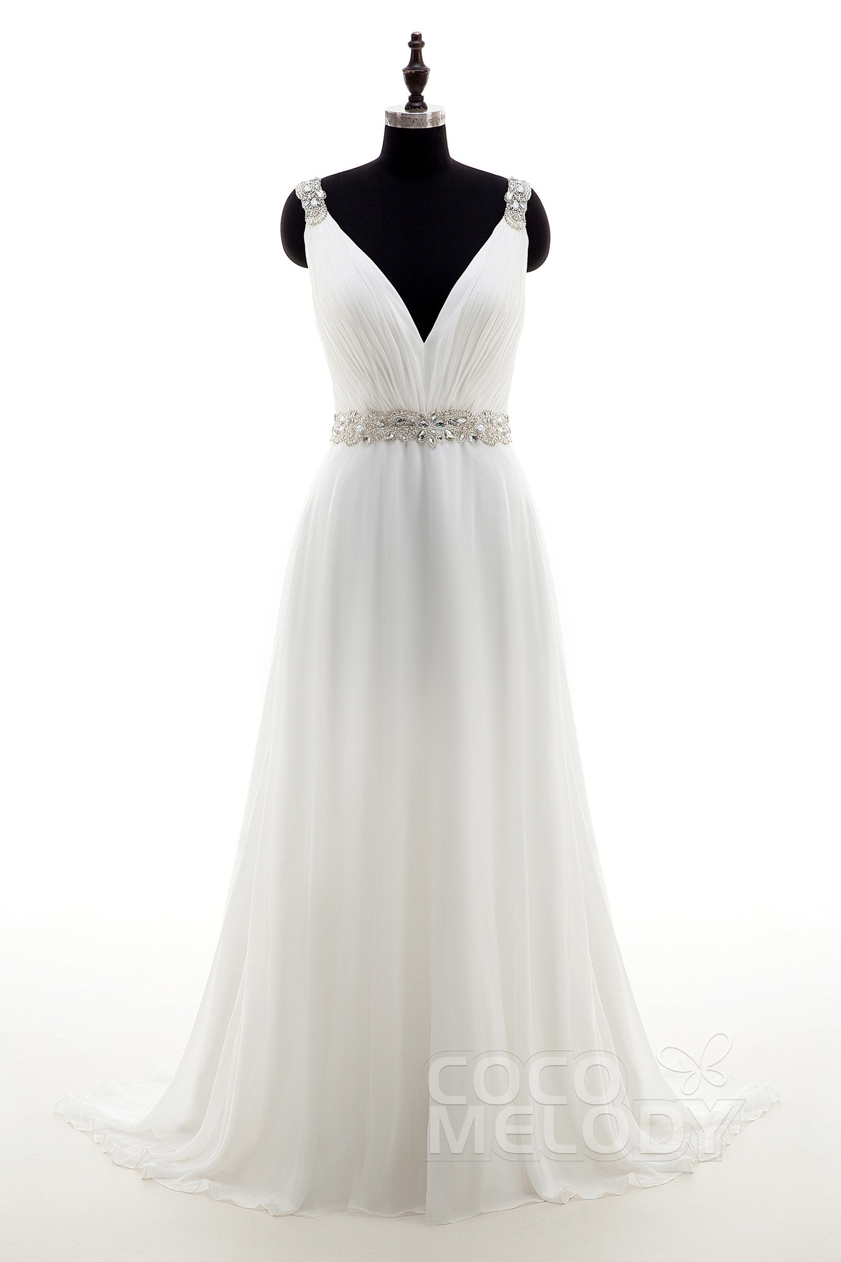 Sheath Column Train Chiffon Wedding Dress Ld4048 Cocomelody