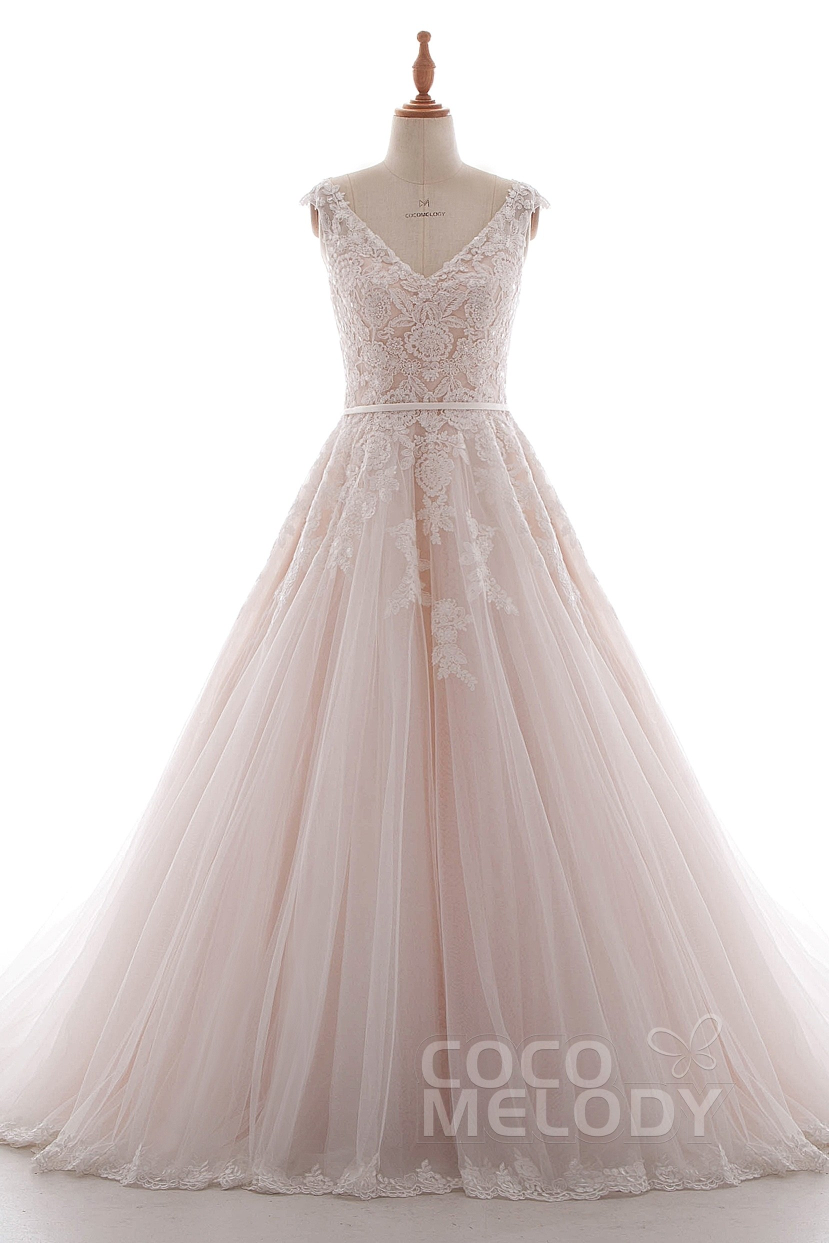 A-Line Court Train Tulle Wedding Dress LD4395 | Cocomelody