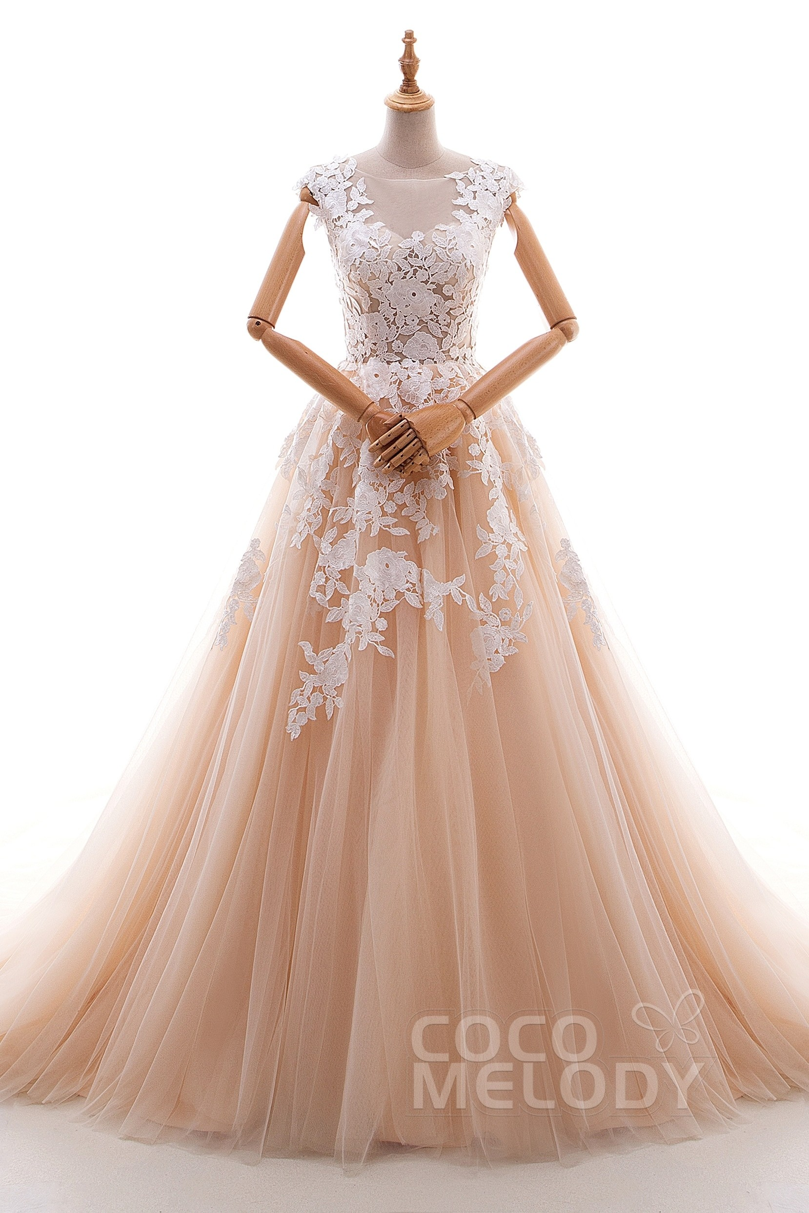 7509d940732 A-Line Cathedral Train Tulle and Lace Wedding Dress LD4534