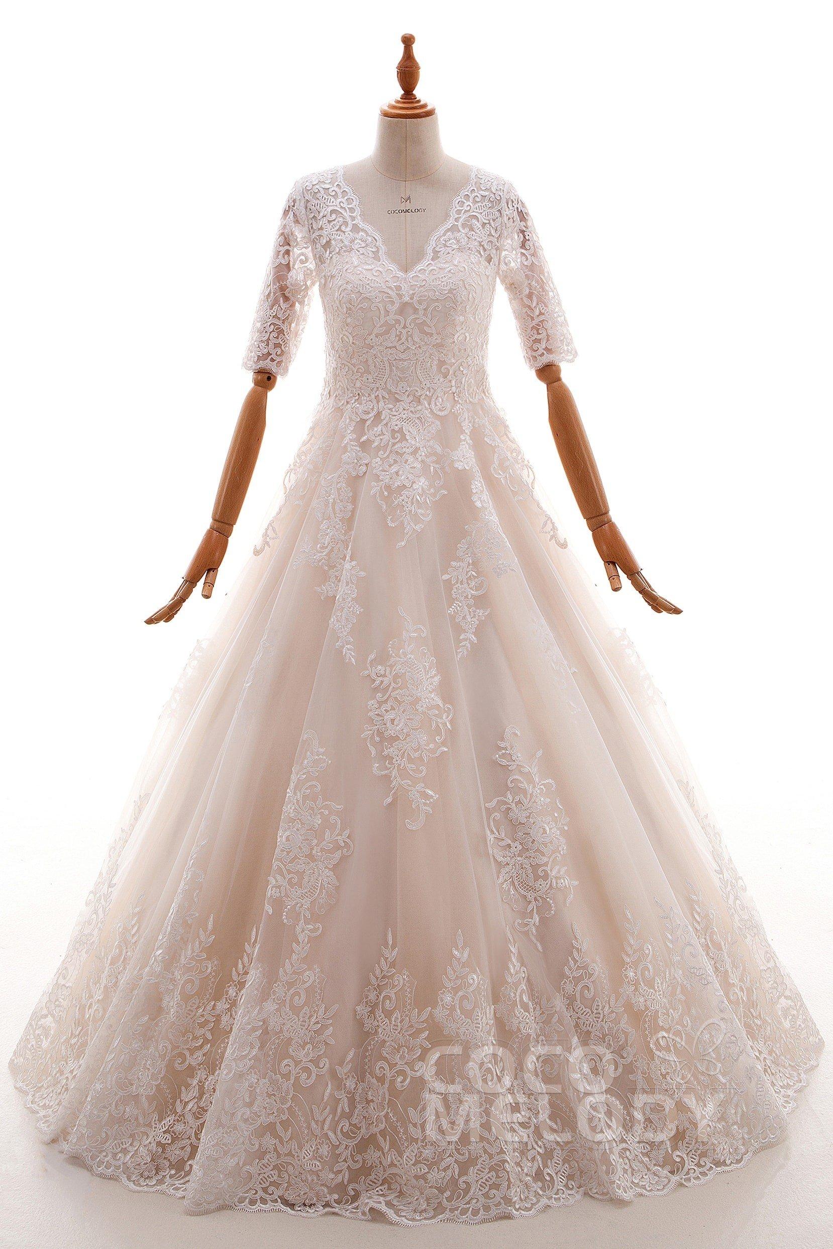 Cocomelody: A-Line V-Neck Floor Length Tulle Half Sleeve Wedding ...