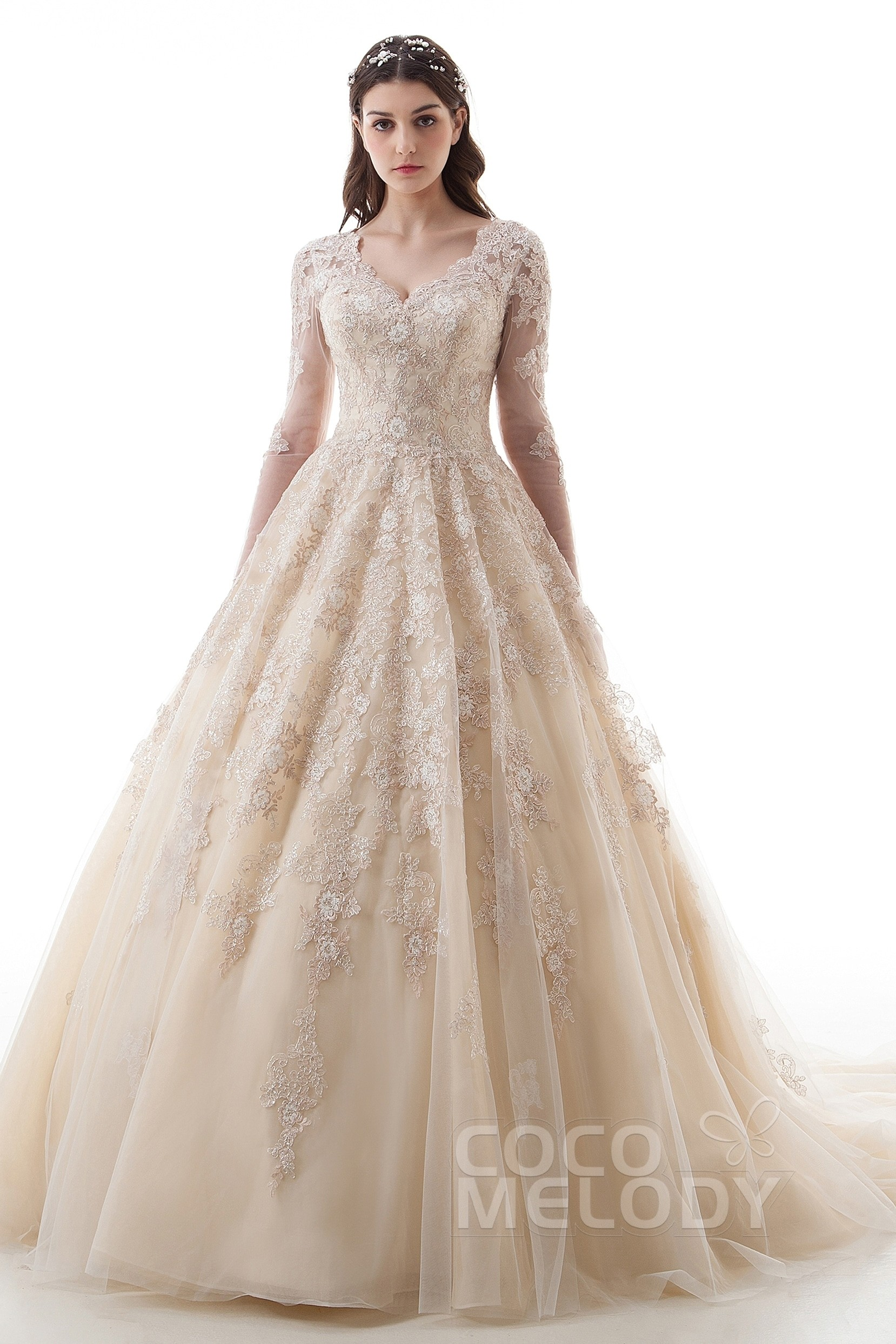 e0f318433fe Luxurious Princess V-Neck Natural Court Train Lace and Tulle Long Sleeve  Zipper with Buttons