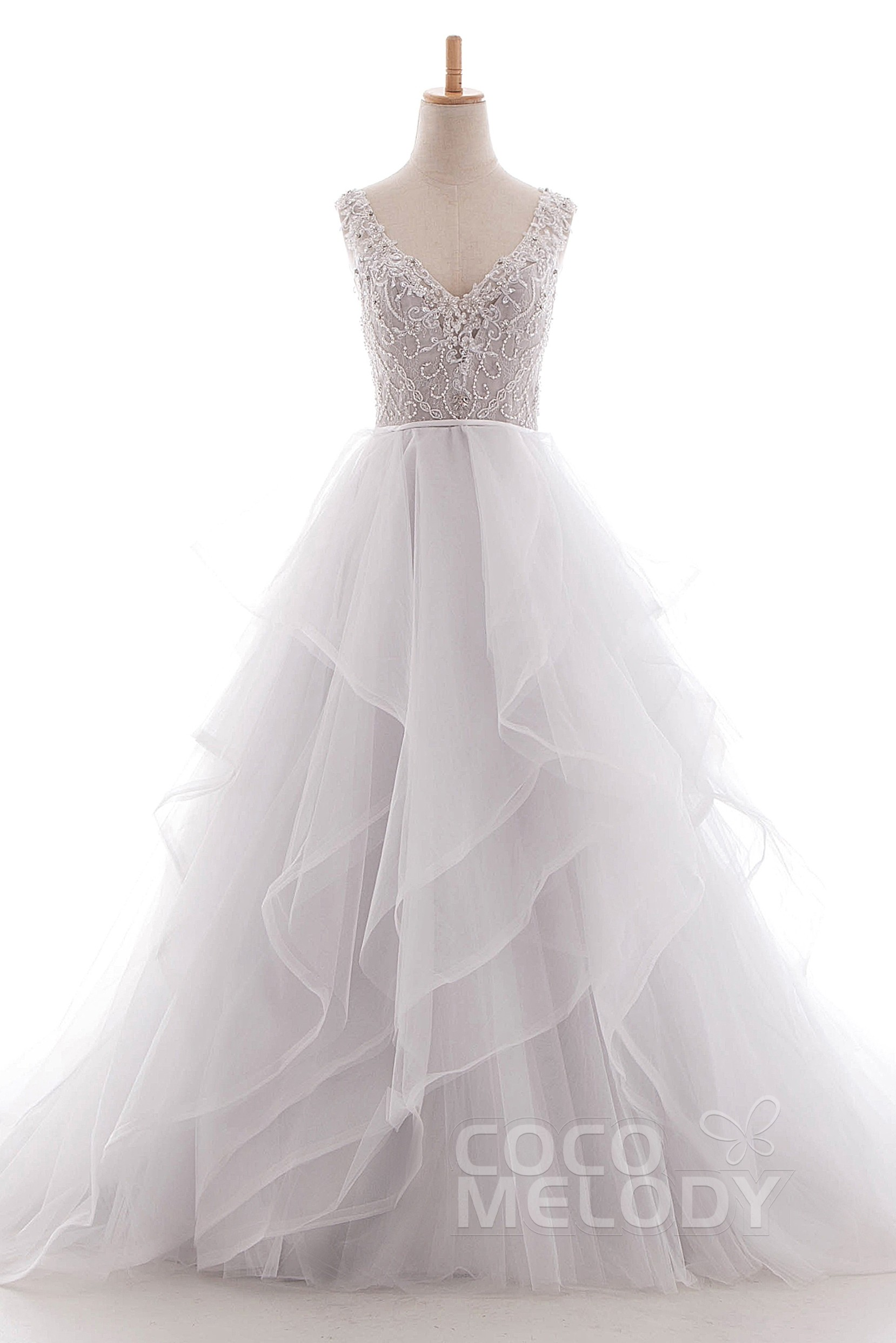 A-Line Court Train Tulle Lace Organza Wedding Dress LD4981 | Cocomelody