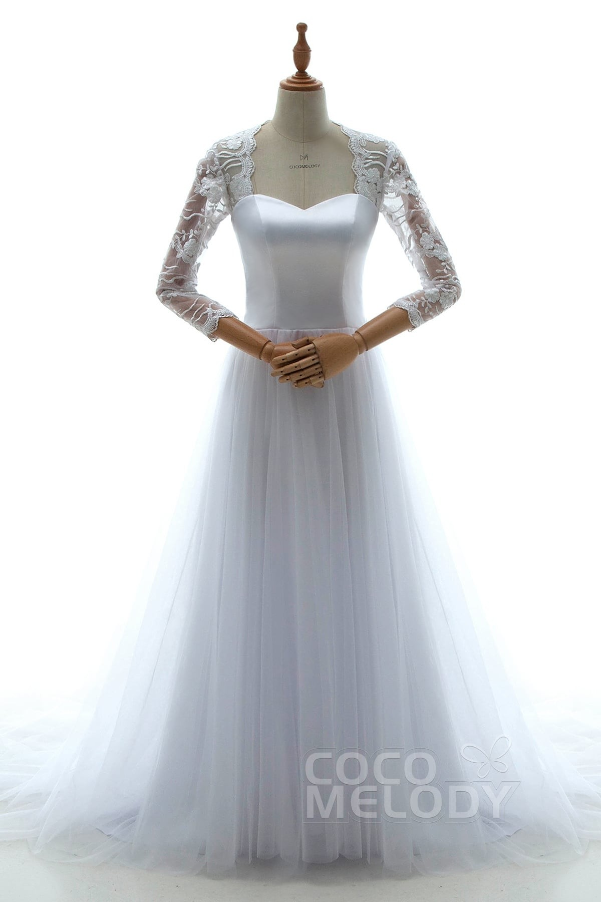 Sheath-Column Court Train Tulle Wedding Dress LD5053 | Cocomelody