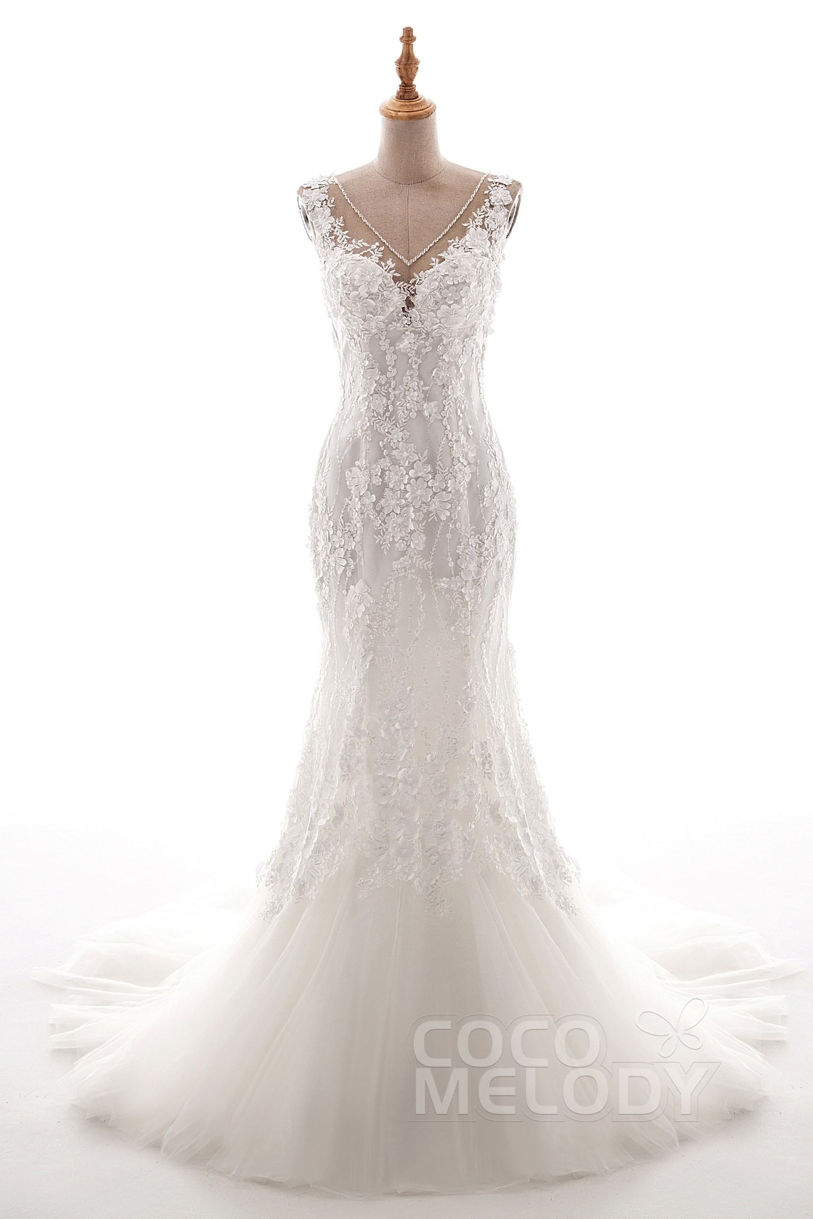 ed878cf7f47 Trumpet-Mermaid Court Train Tulle Lace Wedding Dress LD5058
