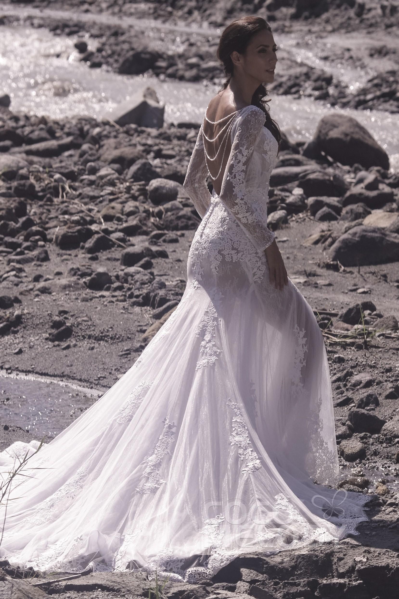 b9a9cf73fe Trumpet-Mermaid Chapel Train Tulle Lace Wedding Dress LD5064