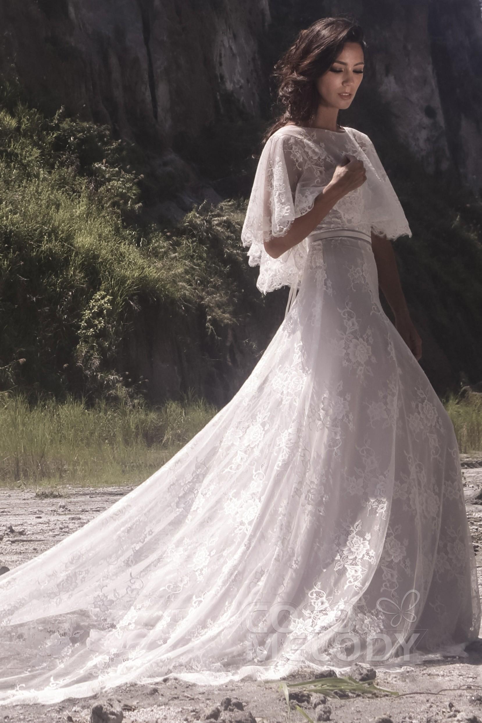 A-Line Chapel Train Tulle Chiffon Wedding Dress LD5067   Cocomelody
