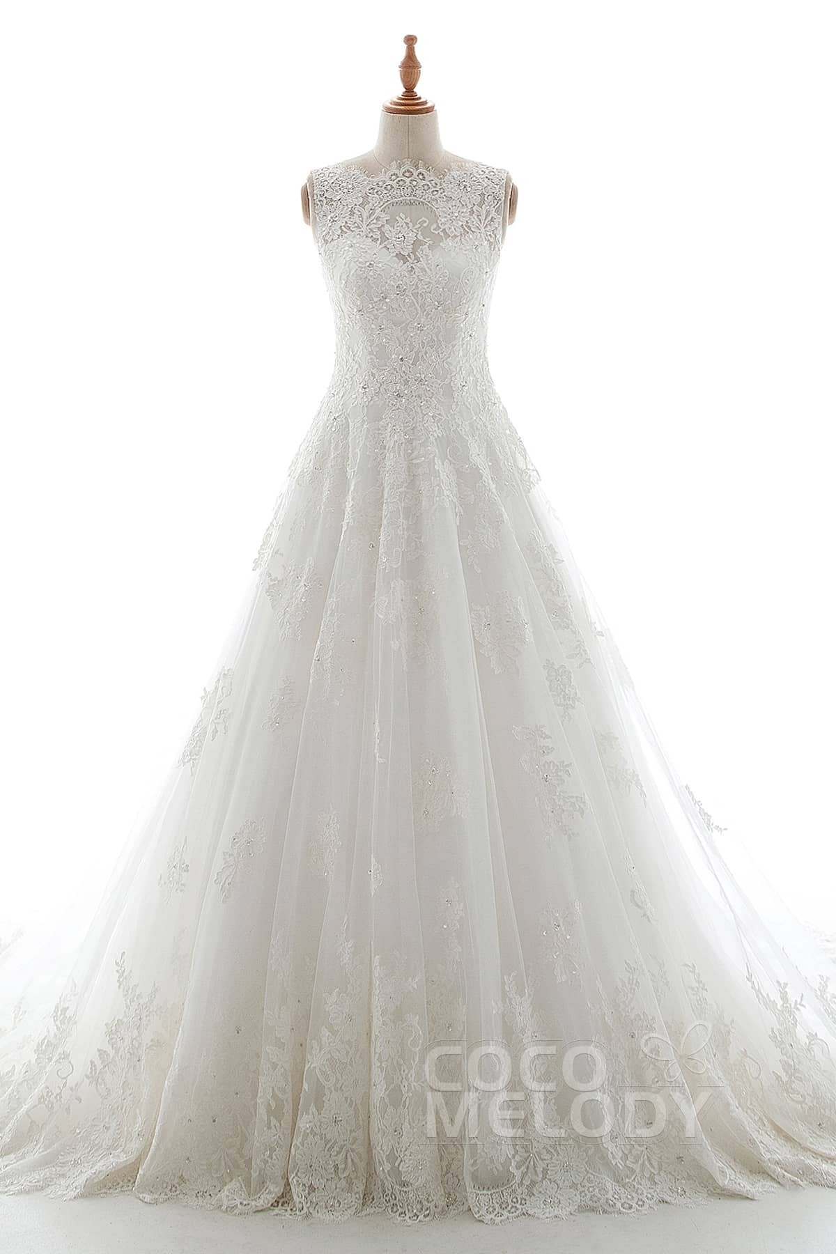 Cocomelody: A-Line Court Train Tulle and Elastic Satin Wedding Dress ...