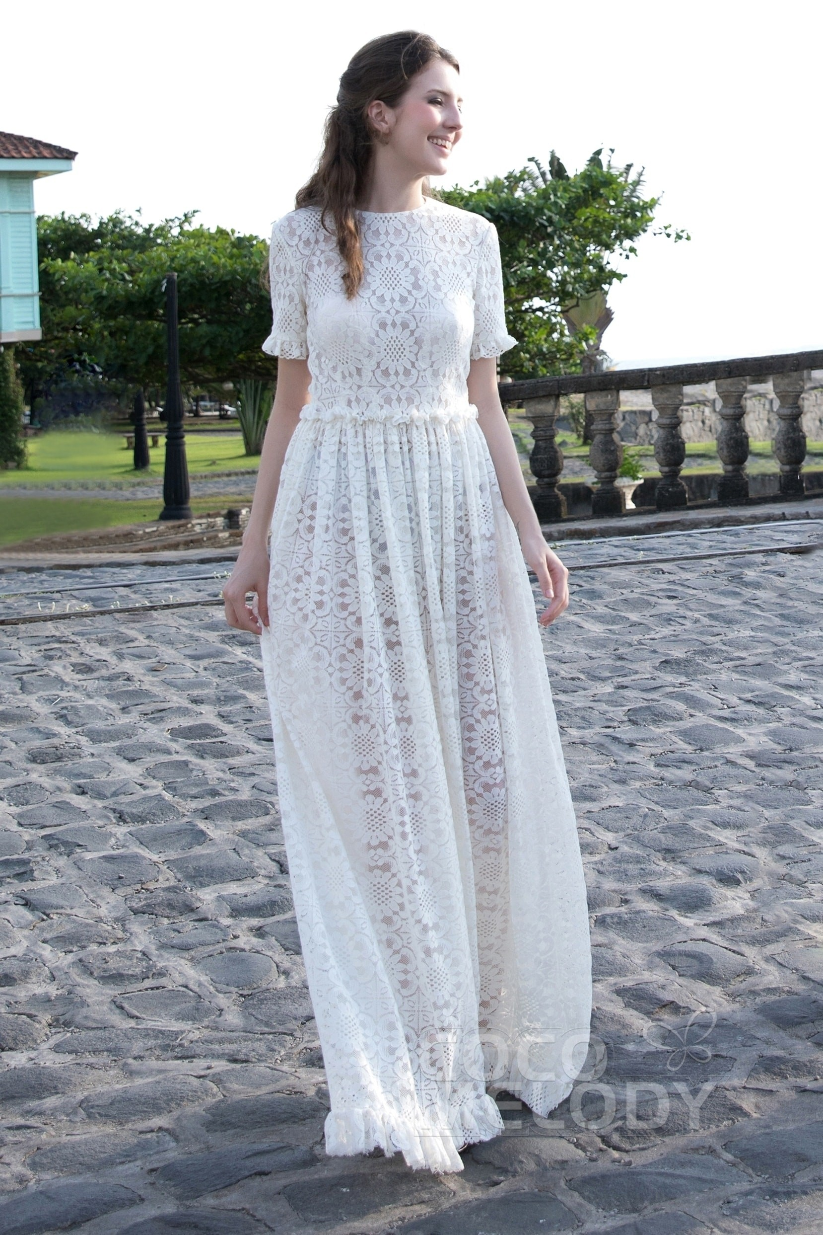A-Line Floor Length Tulle Lace and Chiffon Wedding Dress - Bohemian wedding dress