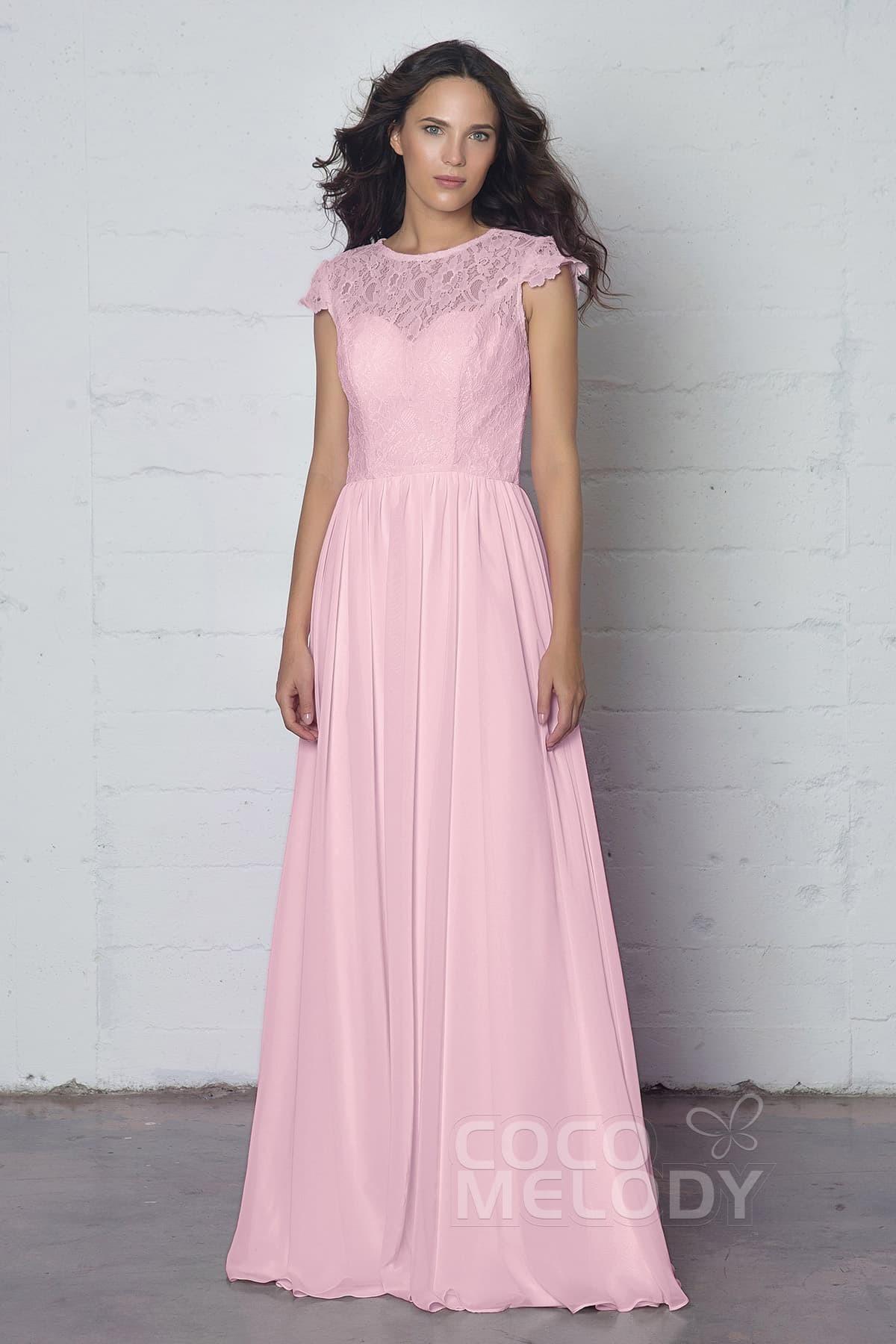 Cocomelody: Sheath-Column Illusion Floor Length Lace Chiffon Dress ...