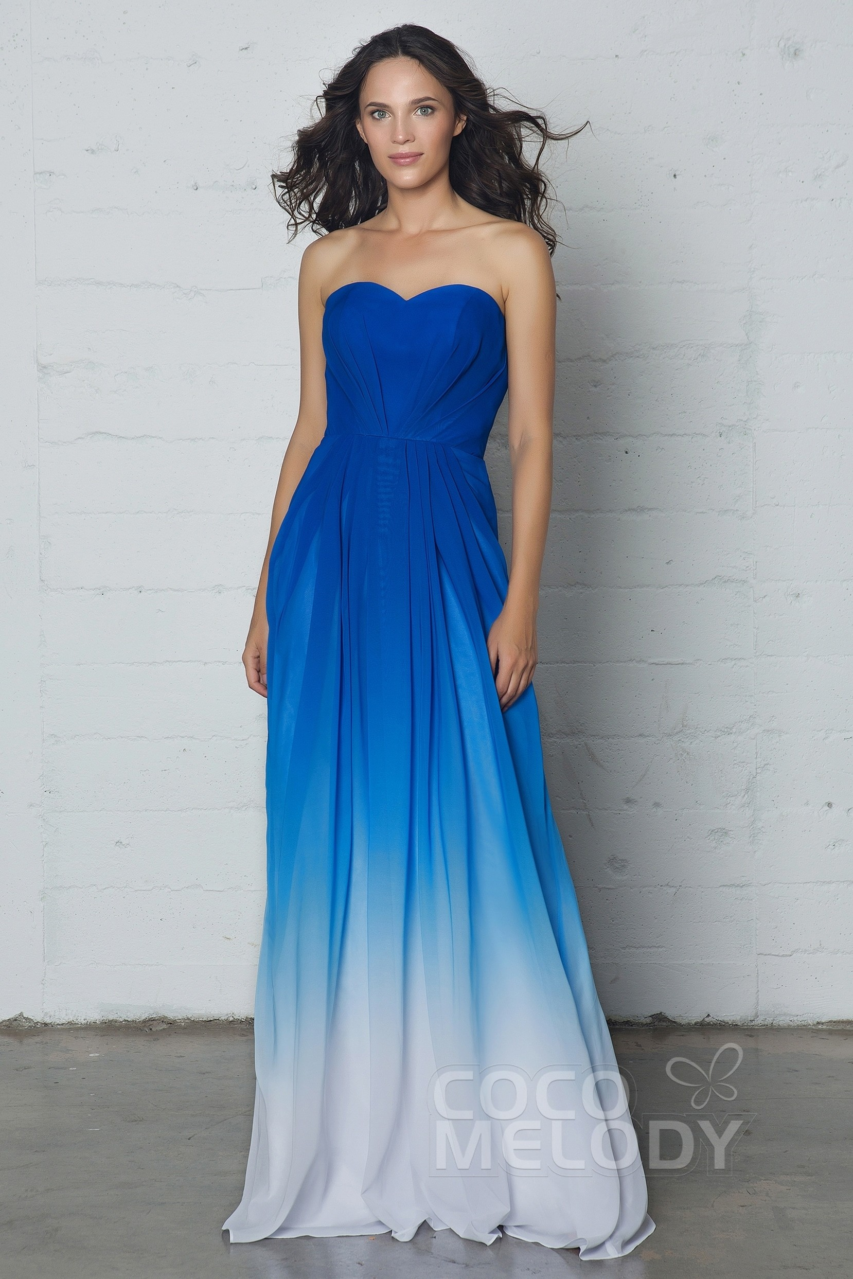 923171d9d2d A-Line Floor Length Ombre Chiffon Dress LOZF15045