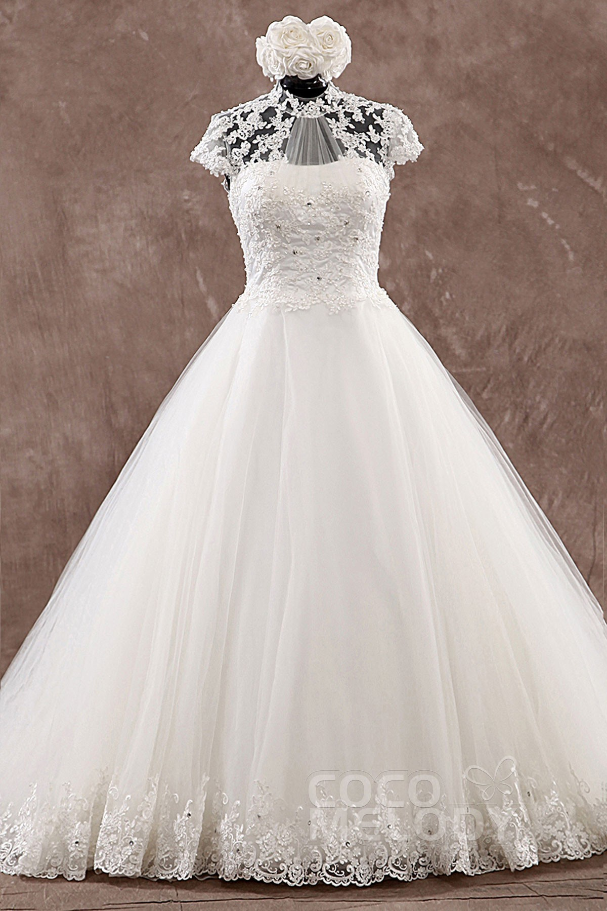 Cocomelody: A-Line High Neck Natural Court Train Tulle Wedding Dress ...