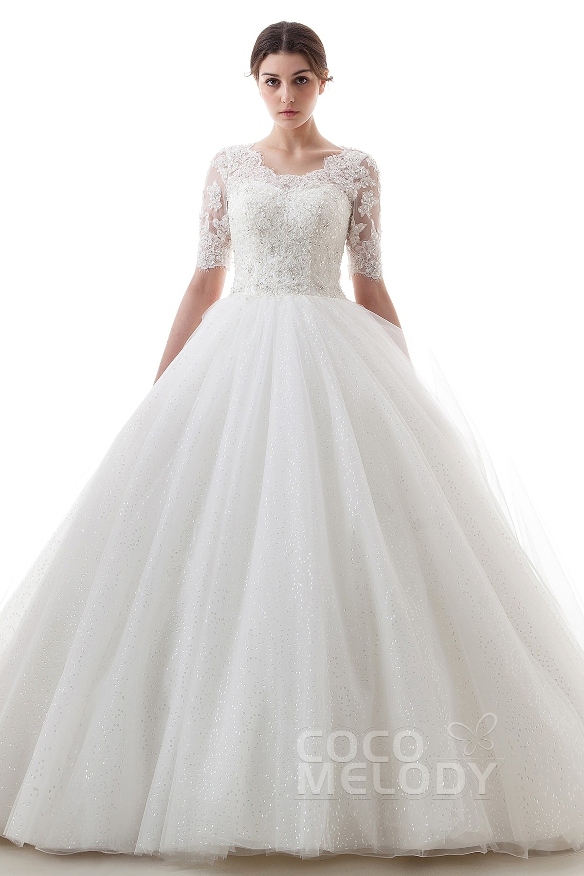 A-Line Train Tulle Half Sleeve Wedding Dress B14TB0056 | Cocomelody