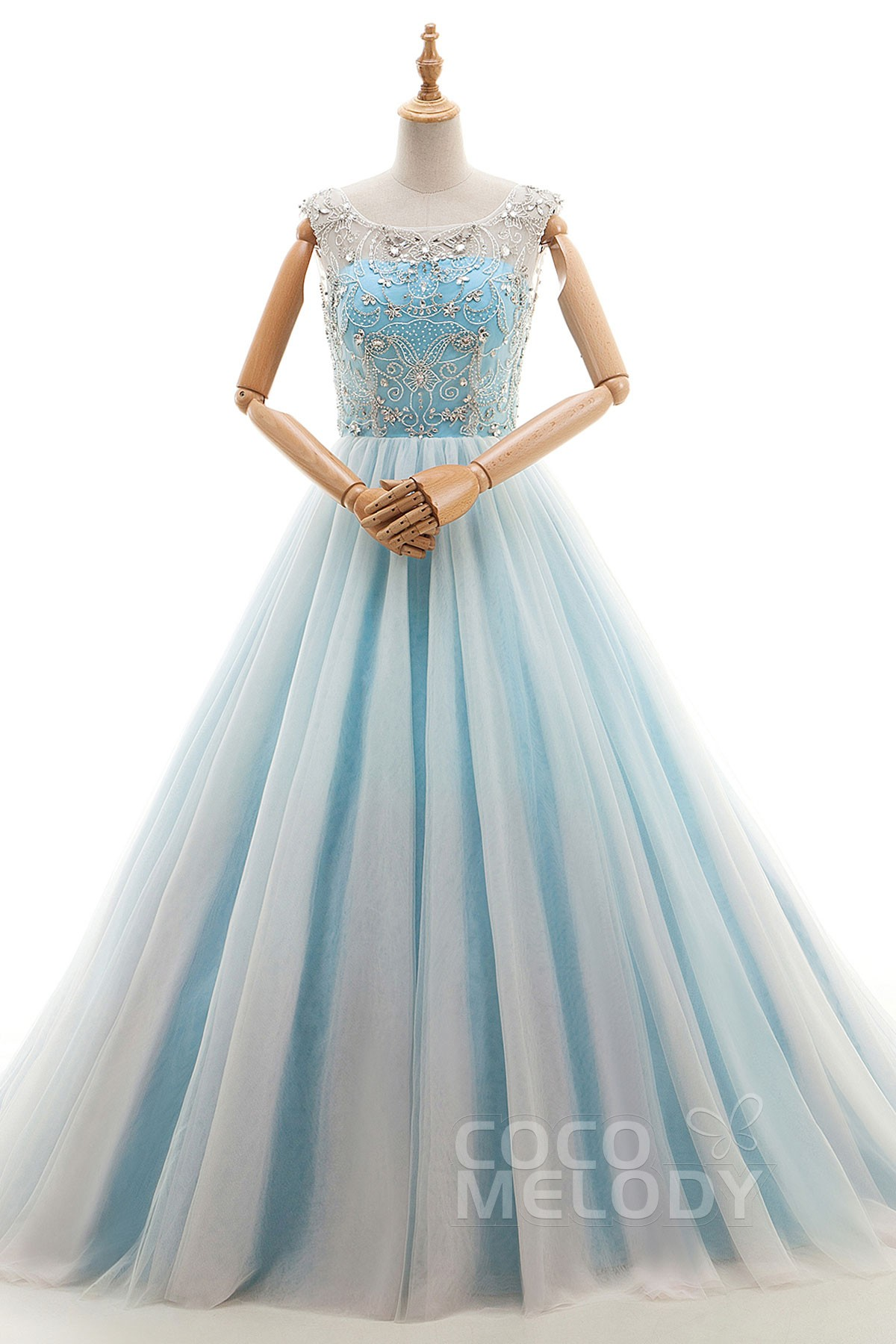 Cocomelody: A-Line Court Train Tulle Evening Dress with Beading ...