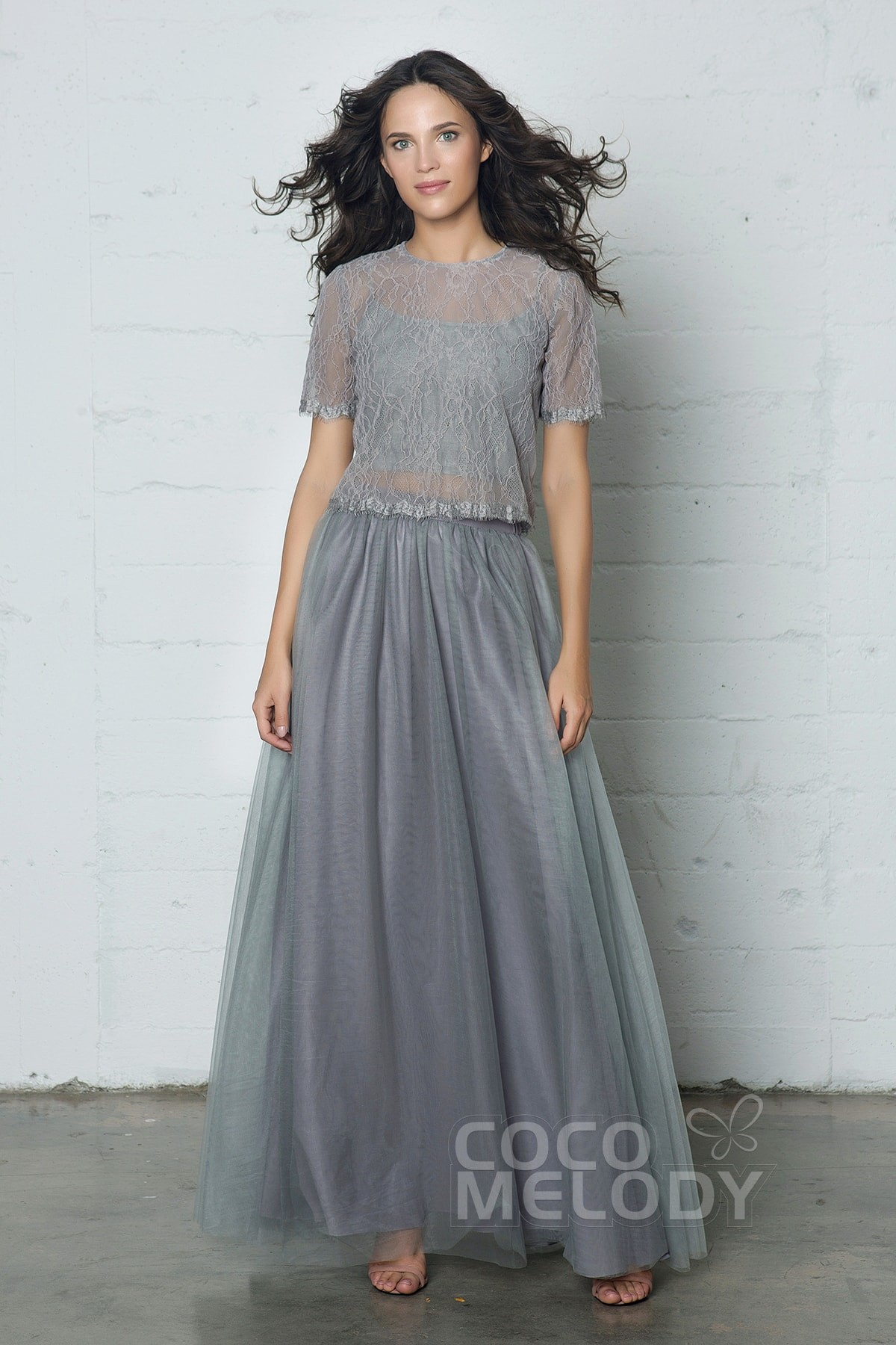 Sheath-Column Floor Length Tulle/Lace Dress PR17003 | Cocomelody