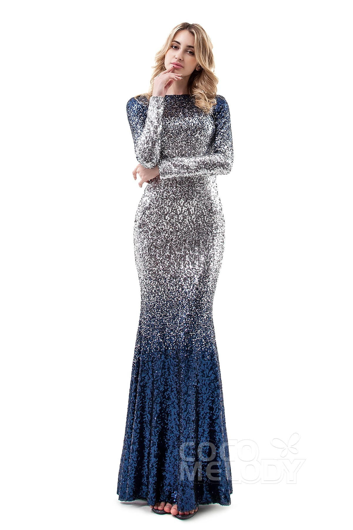 Trumpet-Mermaid Floor Length Sequined Dress PR3367 | Cocomelody