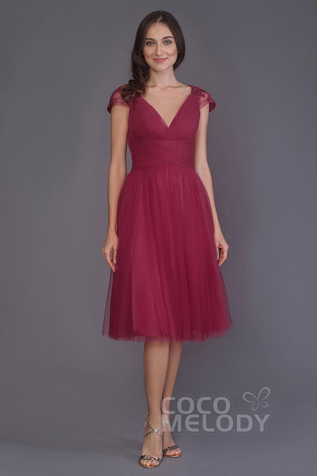 191f0870a97e A-Line Knee Length Tulle Bridesmaid Dress PR3515 | Cocomelody