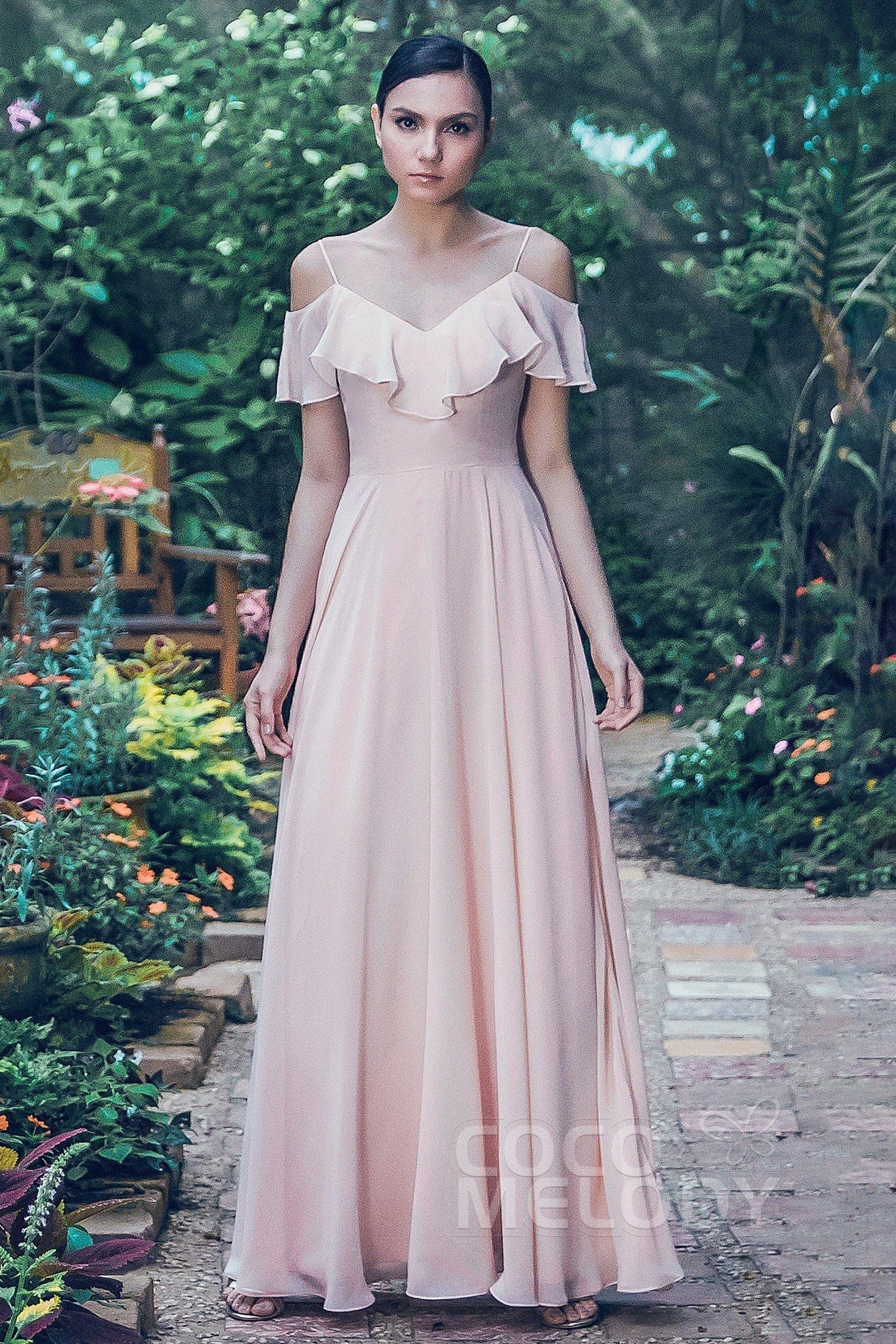 Sheath Column Floor Length Chiffon Bridesmaid Dress Pr3570