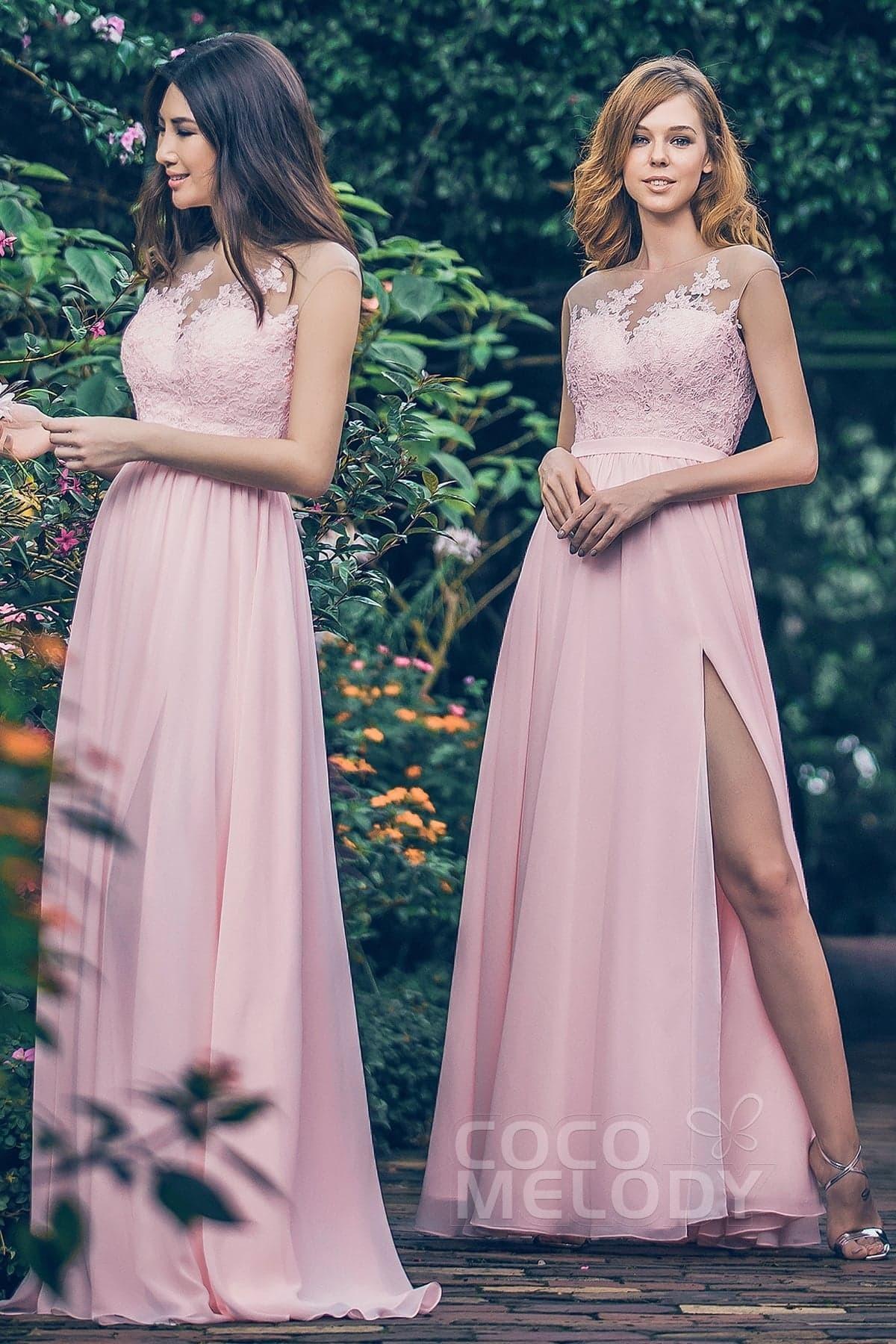 Sheath Column Floor Length Chiffon And Lace Bridesmaid Dress Pr3595