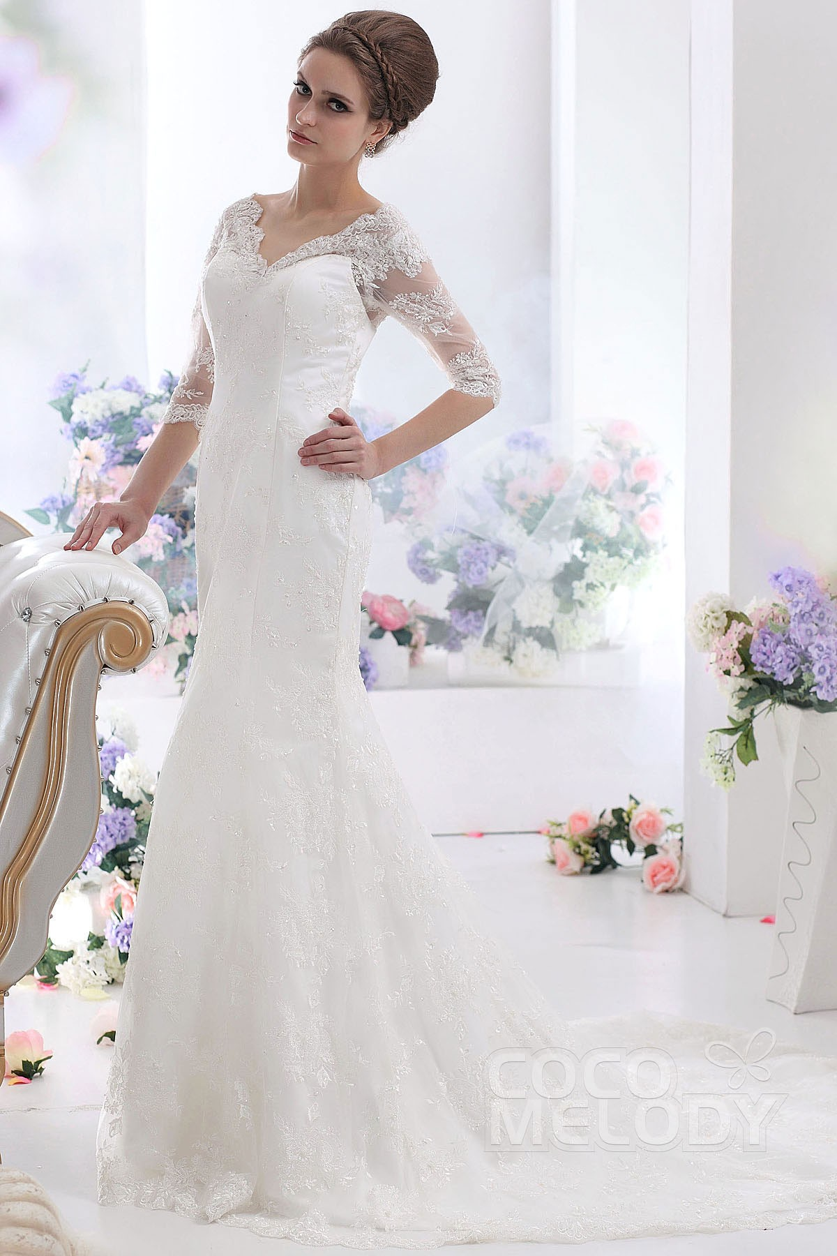 Cocomelody: Sheath-Column V-Neck Court Train Lace Wedding Dress ...