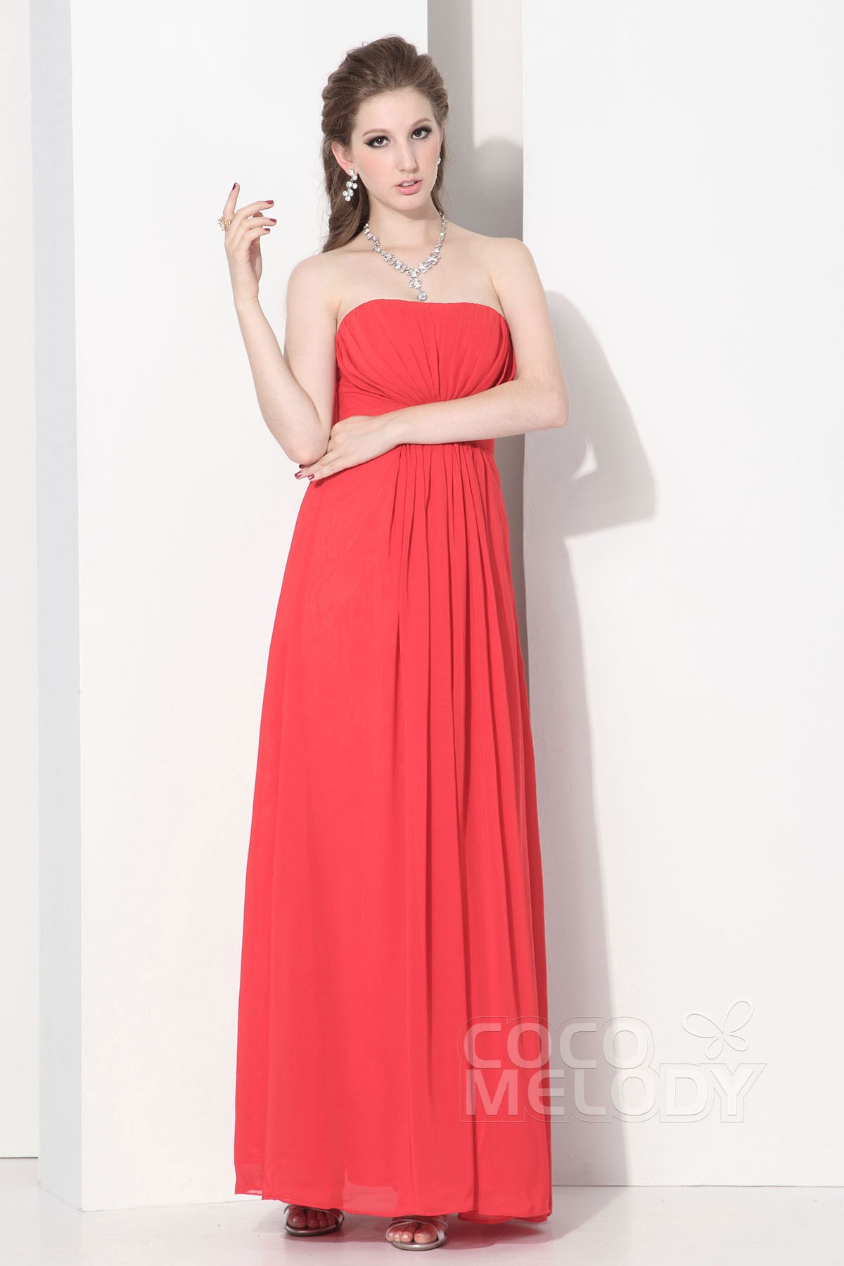 Cocomelody: Sheath-Column Strapless Floor Length Chiffon ...