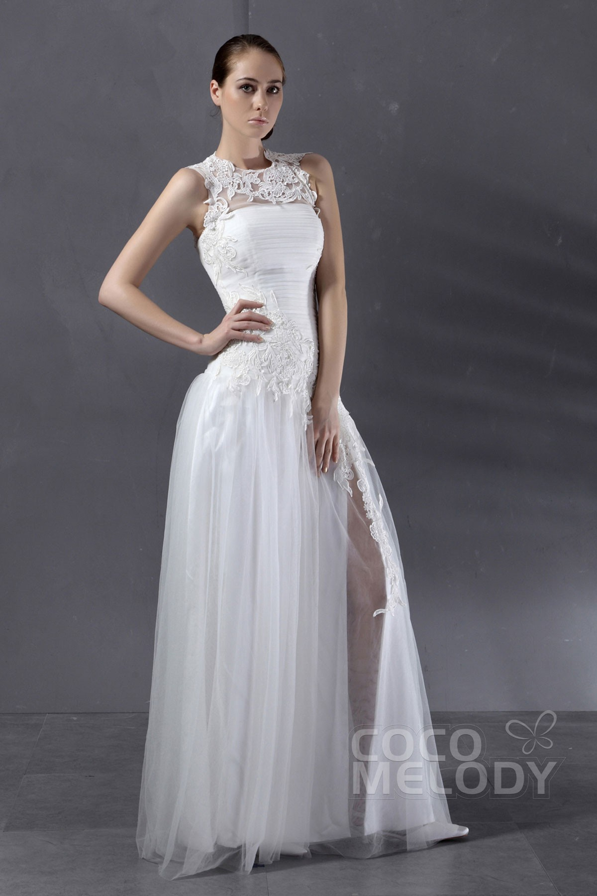 Cocomelody: Sheath-Column Illusion Floor Length Tulle Wedding Dress ...