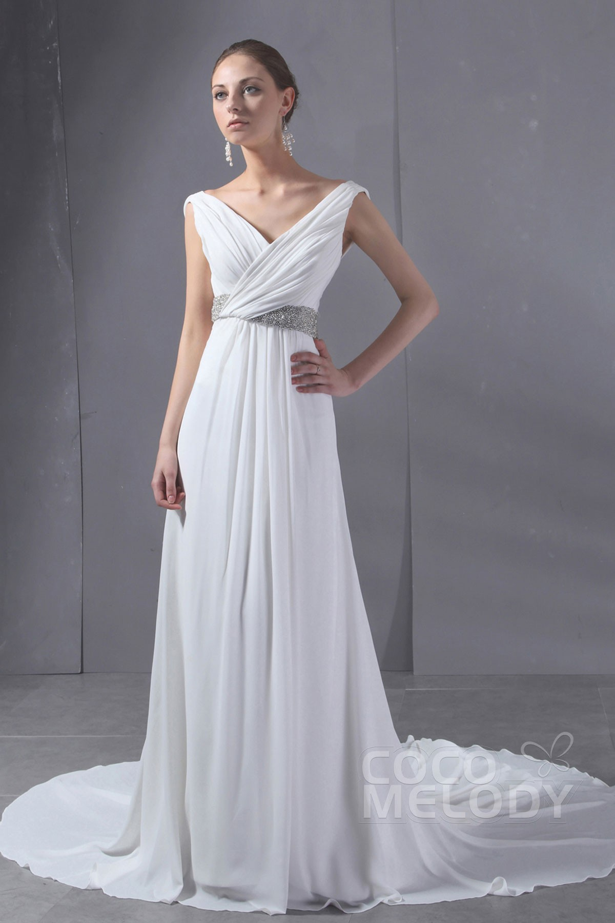 Cocomelody: Sheath-Column V-Neck Chapel Train Chiffon Wedding Dress ...
