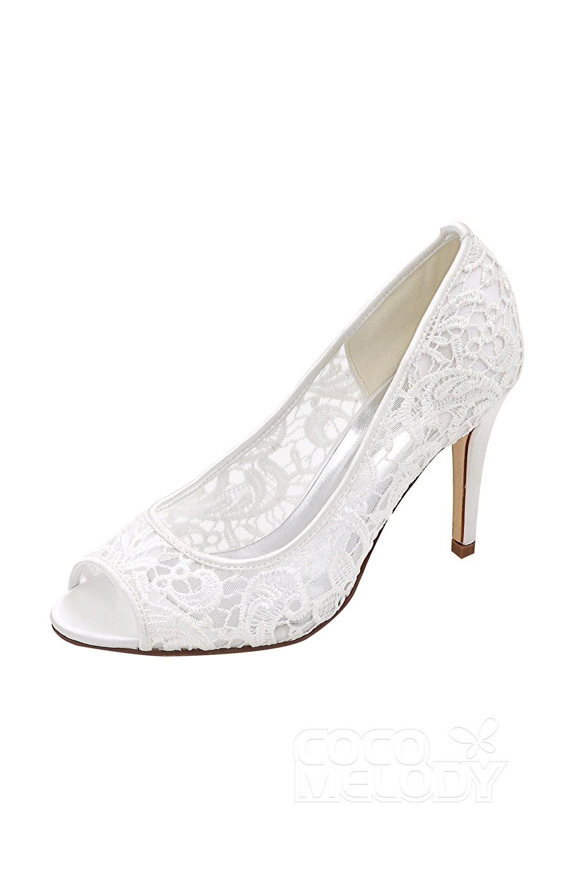8d3c89a178d4 Stiletto Heel 9.3cm Heel Lace Stitching Lace Peep Toe Bridal Shoes SWS16036
