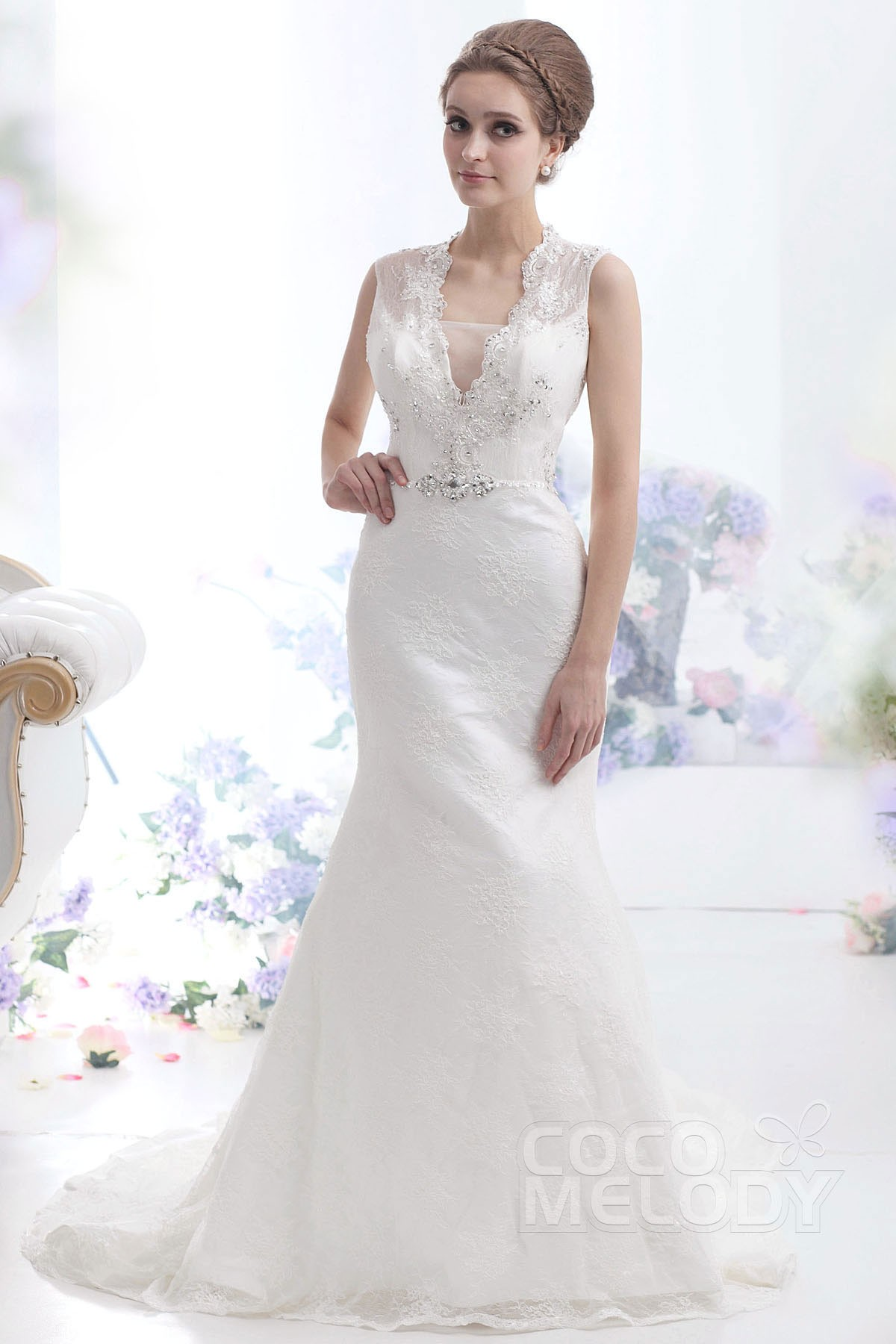 Trumpet-Mermaid Court Train Lace Wedding Dress CWKT13005 | Cocomelody