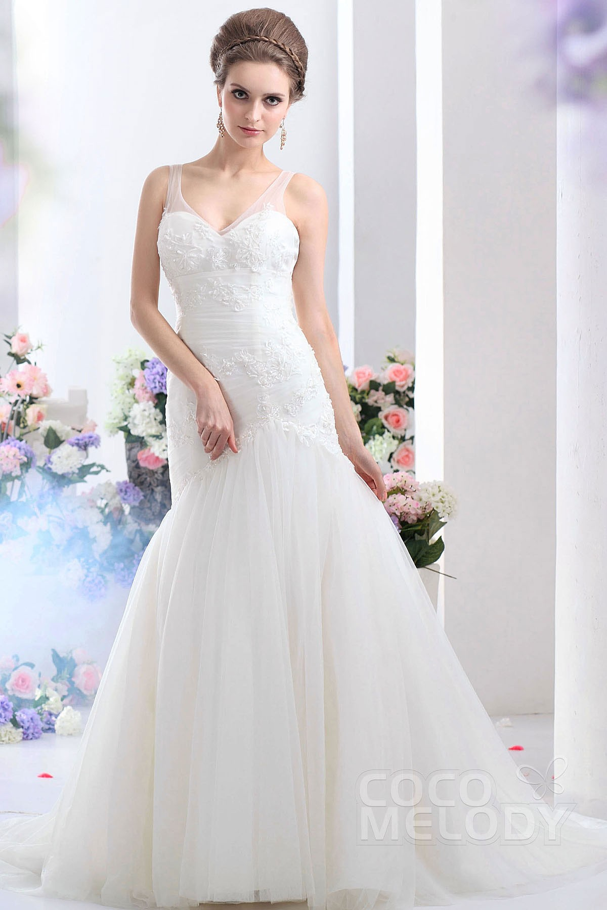 Cocomelody: Trumpet-Mermaid Straps Court Train Tulle Wedding Dress ...