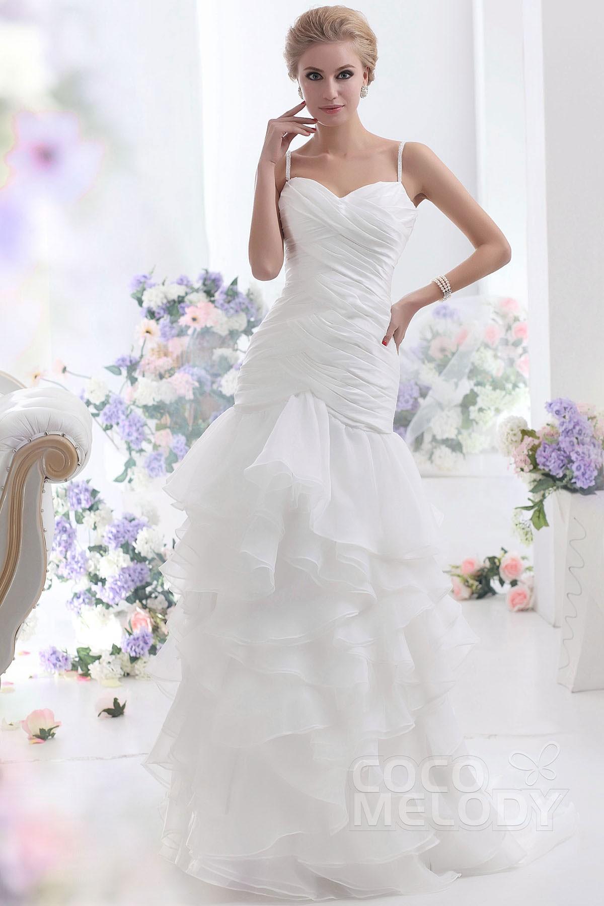 Sheath-Column Train Organza Wedding Dress CWLF13003   Cocomelody