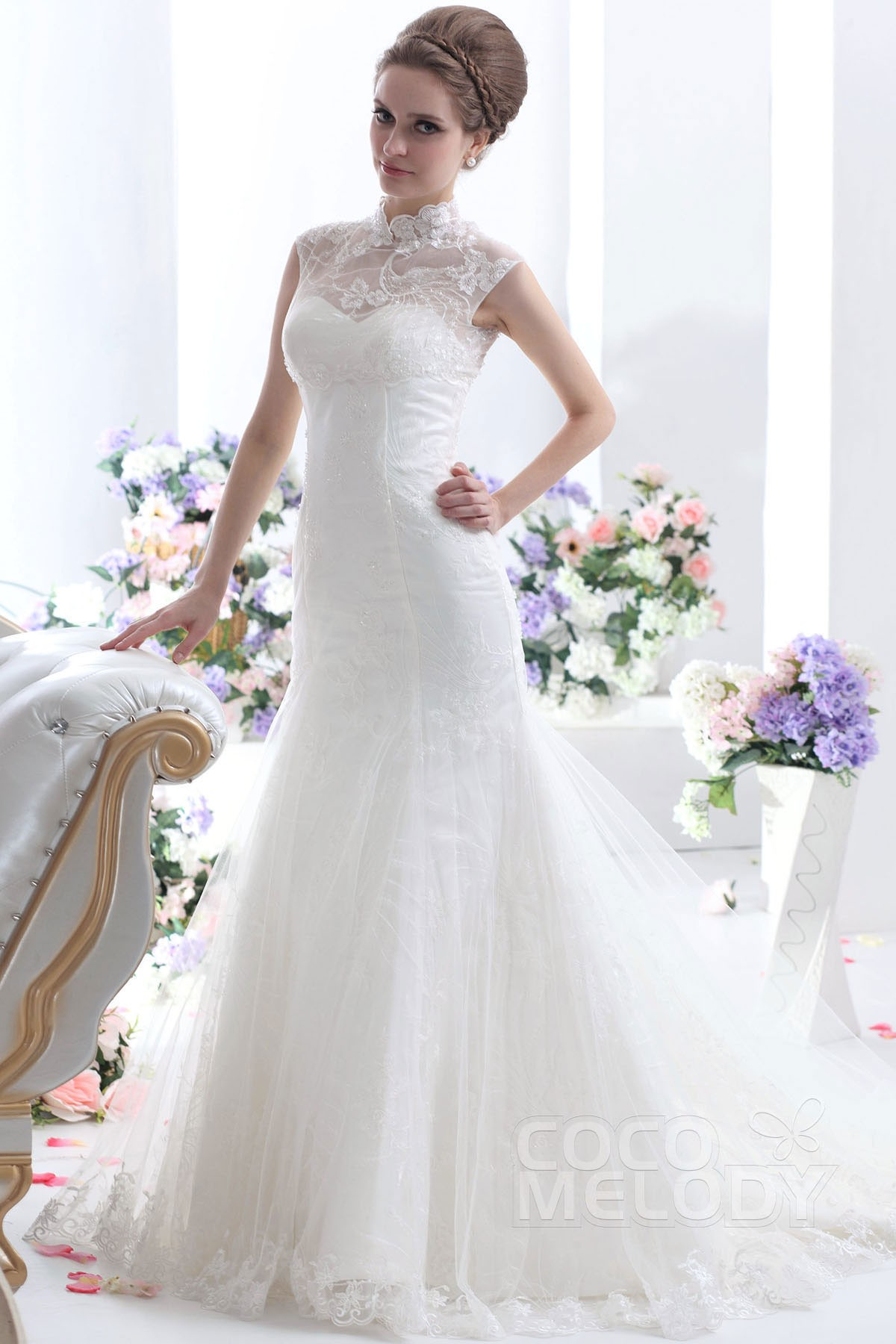 Cocomelody: Trumpet-Mermaid High Neck Chapel Train Tulle Wedding ...