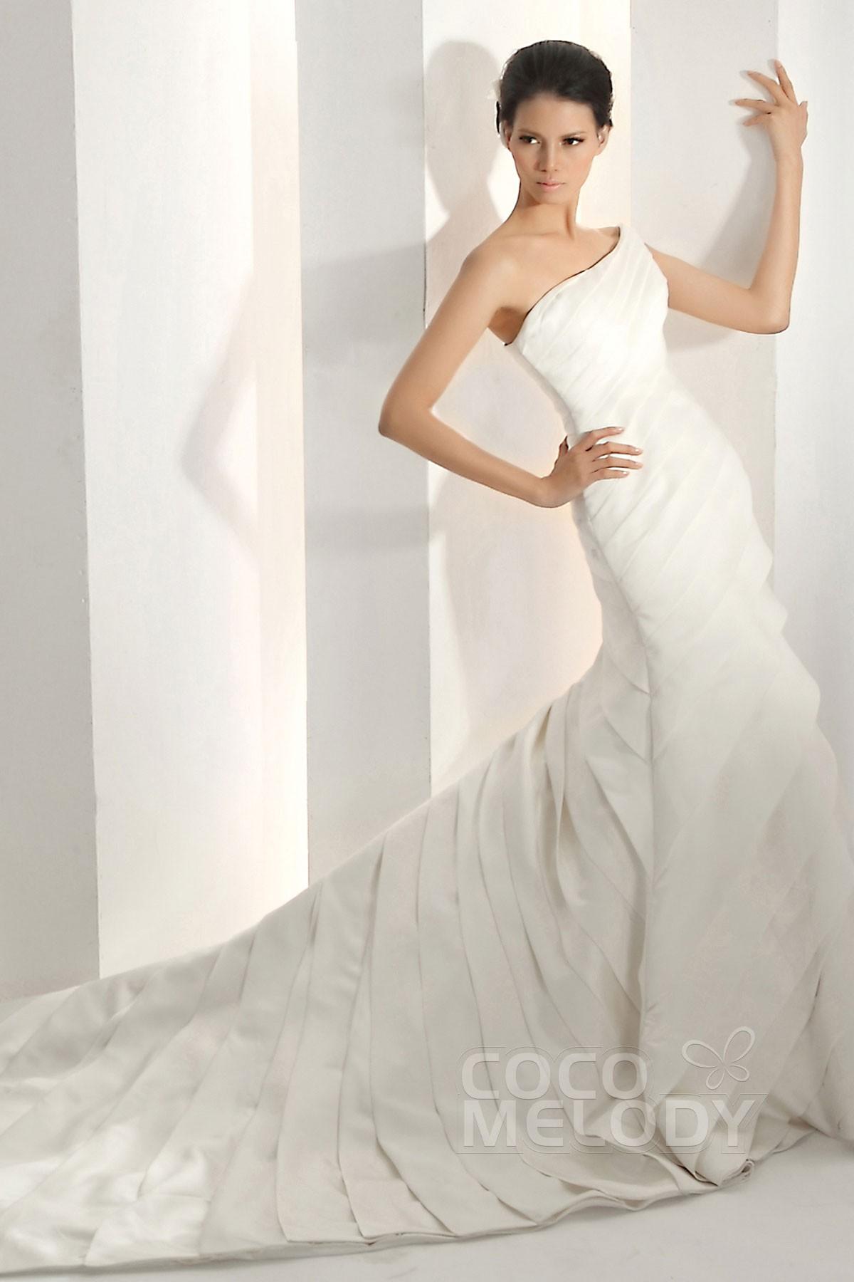 Trumpet-Mermaid Train Satin Wedding Dress CWZT13017 | Cocomelody