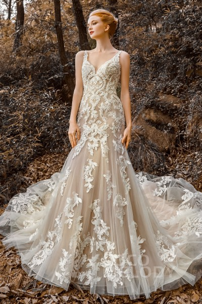 Trumpet-Mermaid Court Train Tulle Wedding Dress CW2123