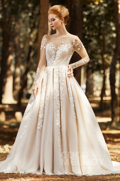 A-Line Court Train Tulle Wedding Dress CW2299
