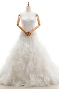 A Line Court Train Organza Wedding Dress Cwlt1600f