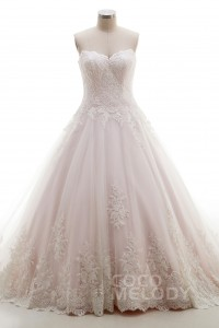 A-Line Sweep-Brush Train Tulle Lace Wedding Dress B14A0052