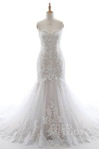 e88d166707f4 Trumpet-Mermaid Court Train Lace Wedding Dress LD3991 | Cocomelody