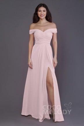 Sheath Column Floor Length Chiffon Bridesmaid Dress Pr3536