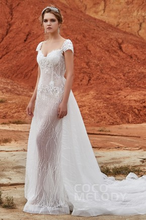 d379b3b39e Trumpet-Mermaid Chapel Train Tulle and Lace Wedding Dress LD5837