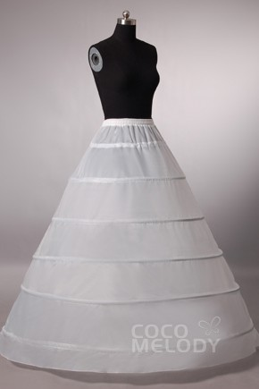 6405a9ed90c A-Line Floor-Length Medium Fullness Slip 6 Hoops Polyester Taffeta Wedding
