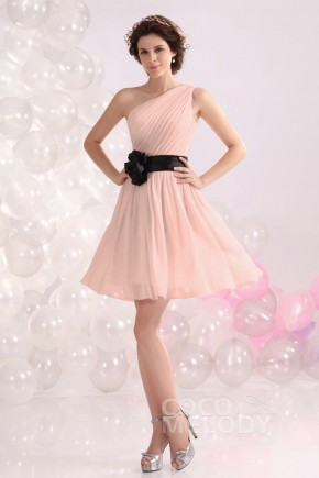 5773cc2dc96 Hot Sale A-Line One Shoulder Short-Mini Chiffon Bridesmaids Dress COZB1301C