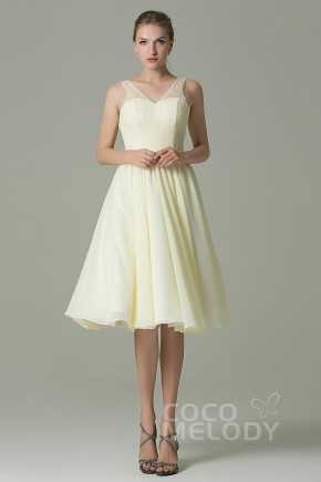 b6314f0a04 Chic A-Line V-Neck Natural Knee Length Lace Chiffon Sleeveless Zipper  Bridesmaid
