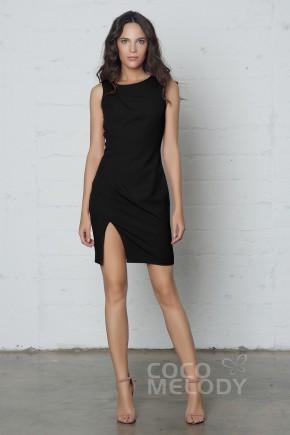 d03dc1cef3b Latest Sheath-Column Jewel Natural Short-Mini Knitted Fabric Sleeveless  Zipper Dress