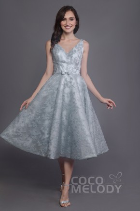 6f0c5edcefbac A-Line Tea Length Lace and Organza Bridesmaid Dress PR3588