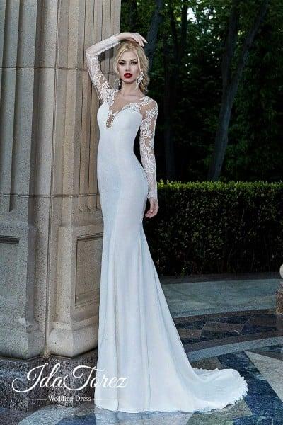 7c6f8493a5a1 trumpet mermaid court stretch satin wedding dress 01001 cocomelody