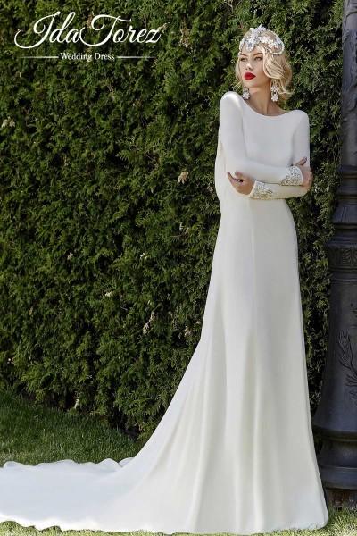 16c31e6d4f2 Pretty Sheath-Column Bateau Natural Court Train Stretch Crepe Ivory Long  Sleeve Open Back Wedding Dress Draped 01010