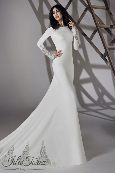 Modest Trumpet Mermaid Bateau Natural Court Train Stretch Crepe Ivory Long Sleeve Open Back Wedding