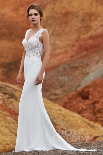 a9c1fff74b97 Trumpet-Mermaid Chapel Train Knitted Fabric Wedding Dress LD5816